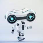 Walking look-see robot with big head looking forward, 3d rendering