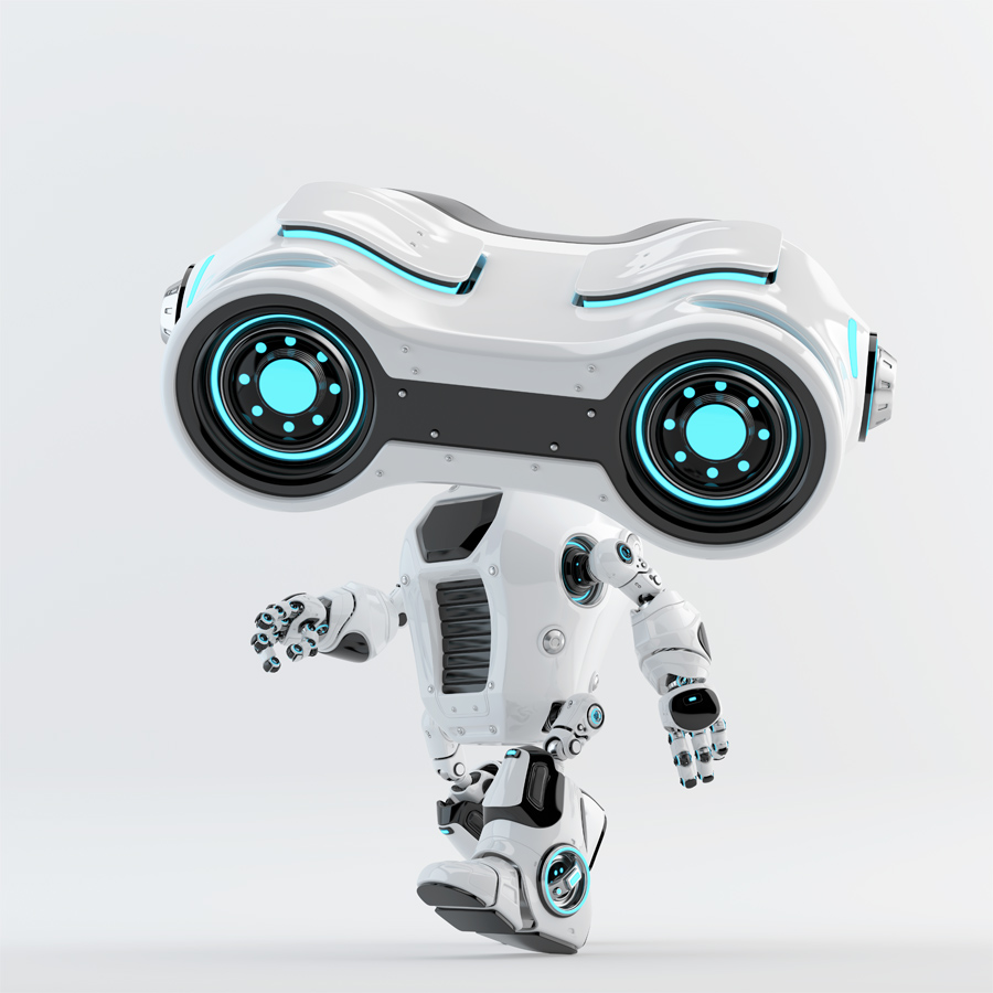Walking look-see robot with big head looking forward, 3d rendering