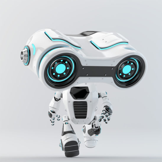 Look-see robot moving forward with big binocular head looking down