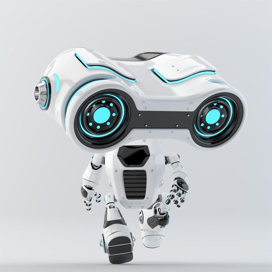 Look-see robot moving forward with big binocular head looking down