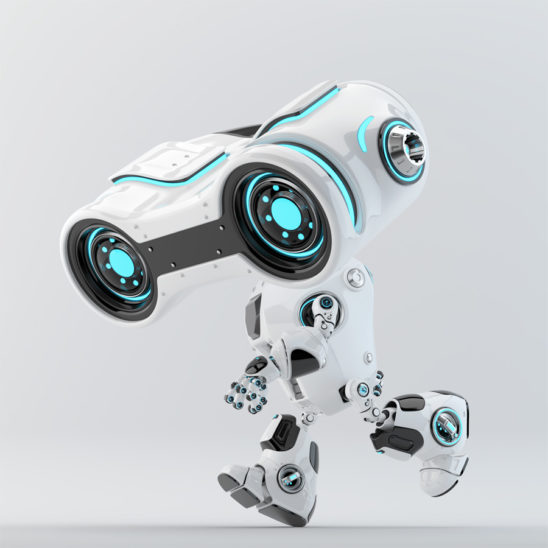 Look-see robot moving forward with big binocular head looking down, 3d rendering