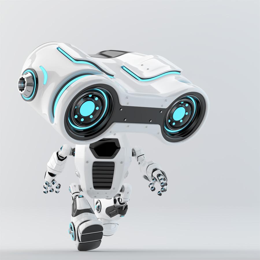 Look-see robot moving forward with big binocular head looking down, 3d rendering
