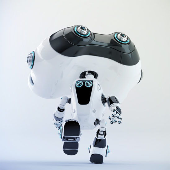Look-see robot running backwards, 3d render