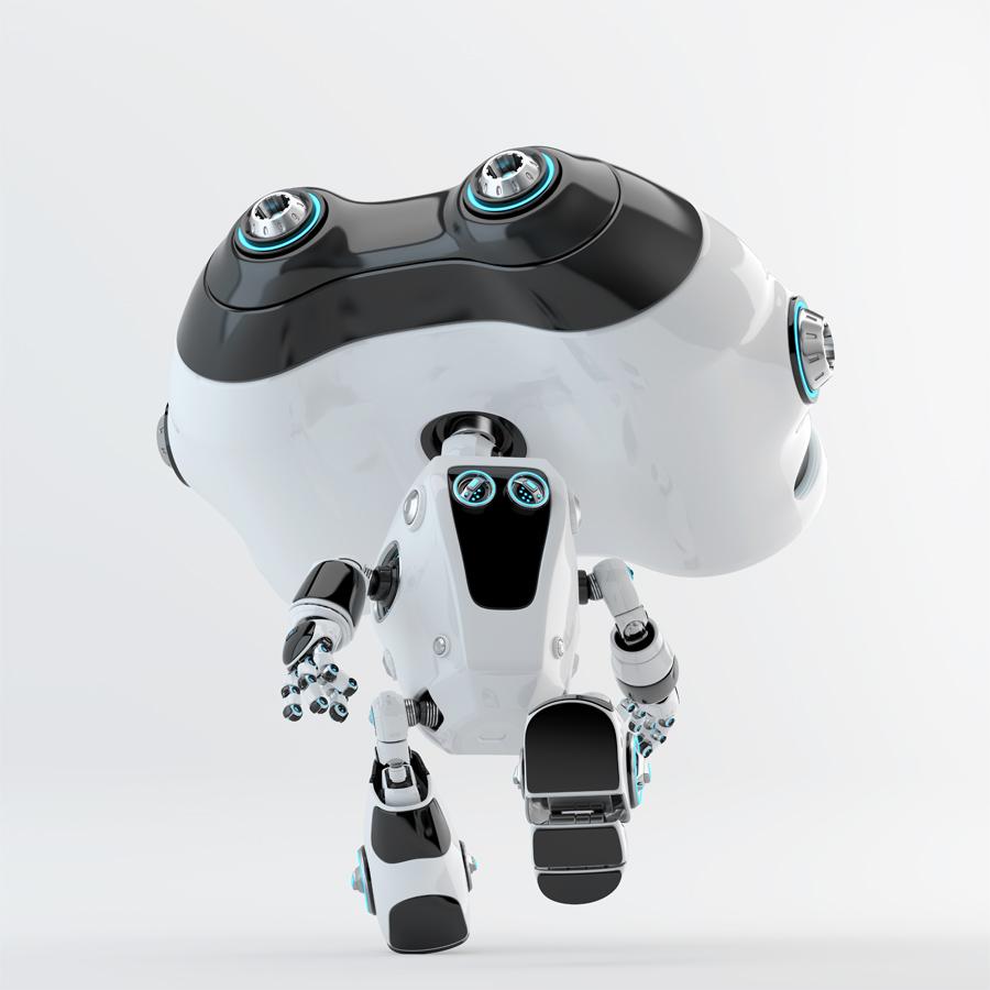 Look-see robot running backwards, 3d render