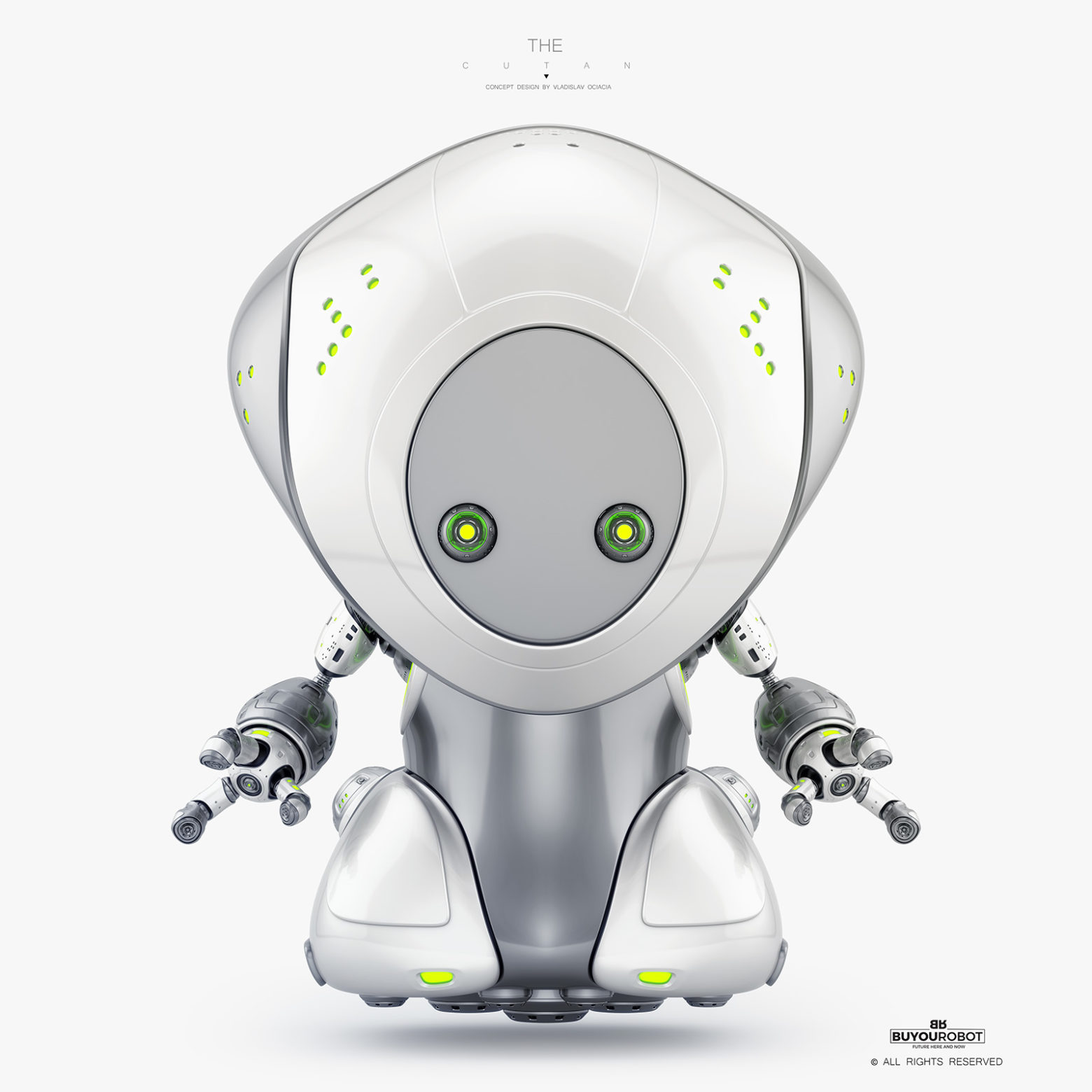 cute pirate robot levitating, aerial toy