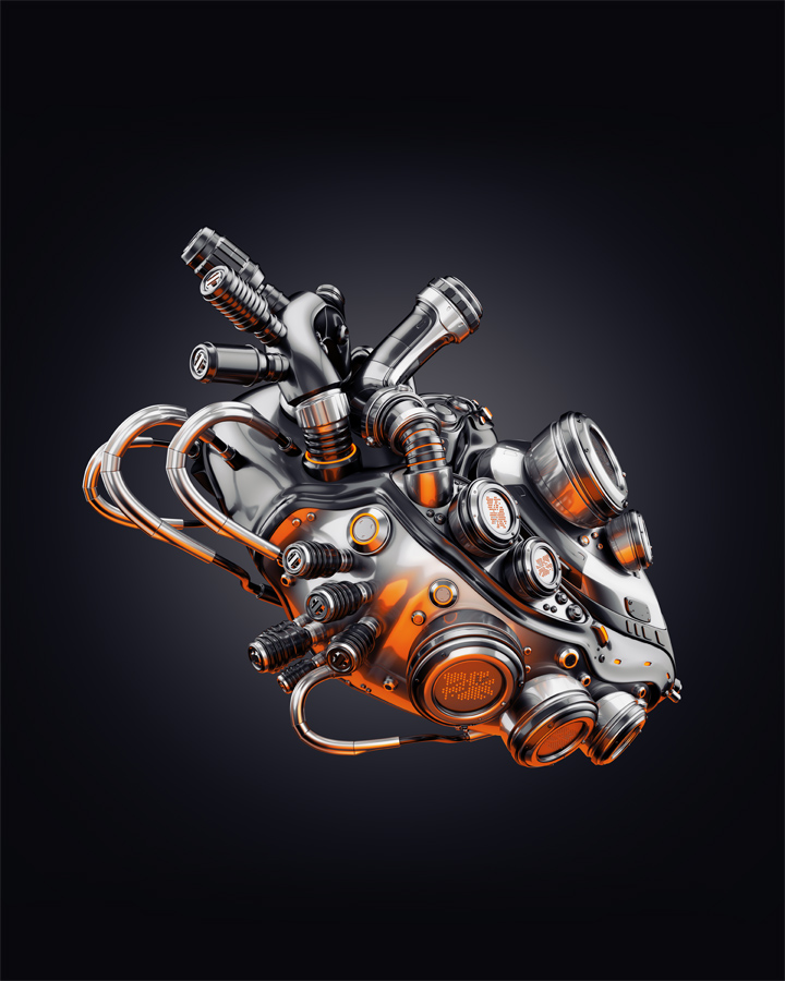 Futuristic cool robotic heart, 3d rendering with transparency