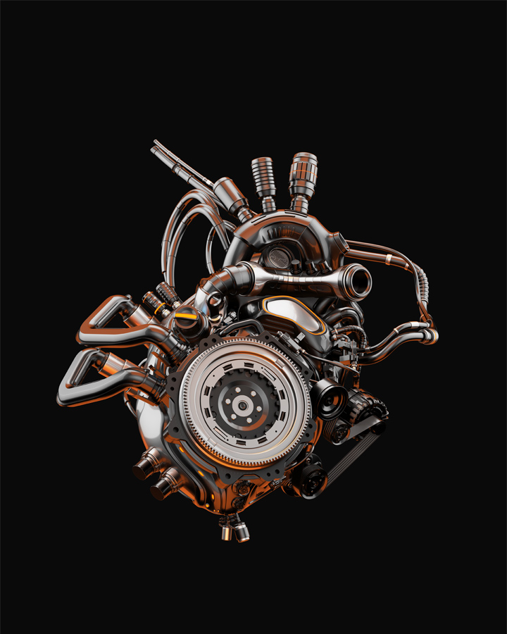 Futuristic cool robotic heart on dark gradient background, 3d rendering with transparency