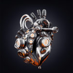 Eternal metal heart on dark background, 3d rendering with transparency