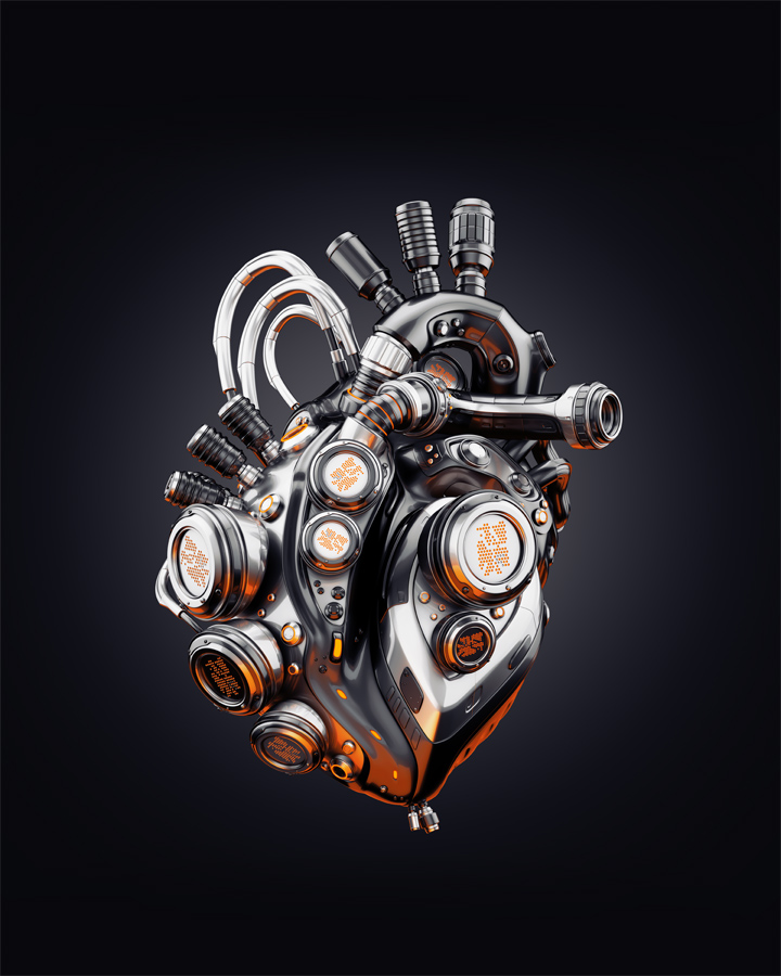 Eternal metal heart on dark background, 3d rendering with transparency