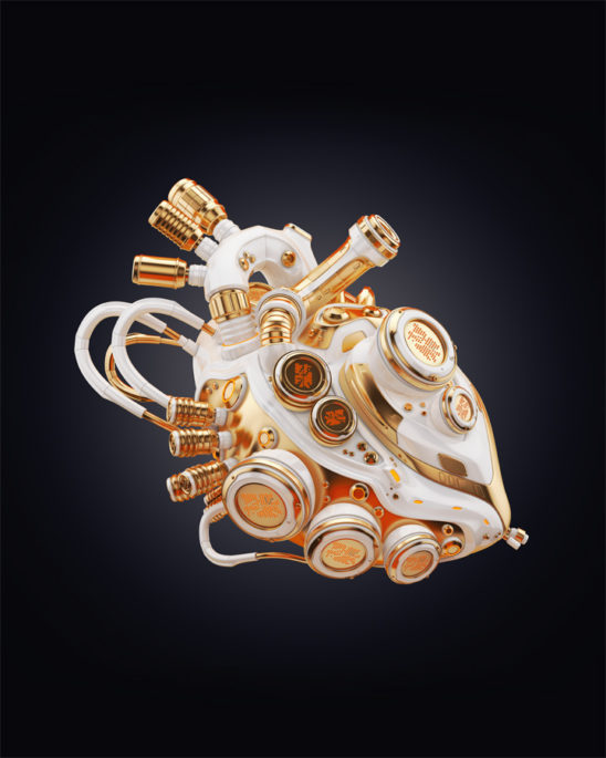 Clean golden heart on dark background, 3d rendering with alpha