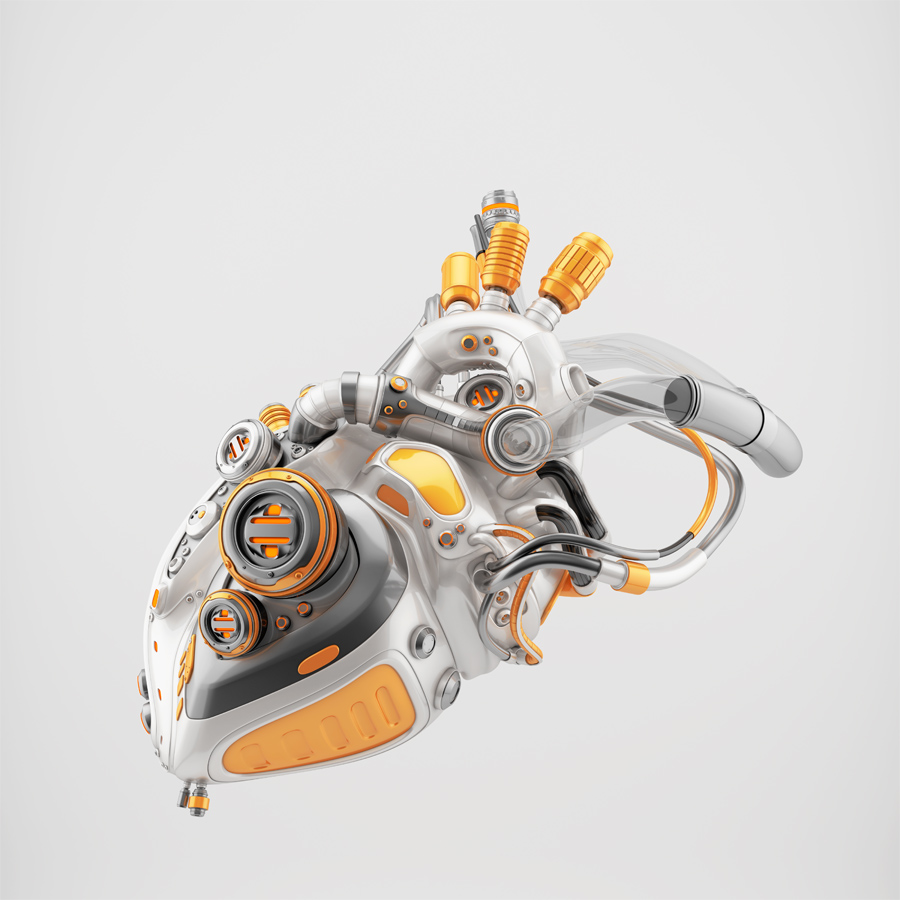 Stylish cyber heart with golden parts 3d rendering with alpha