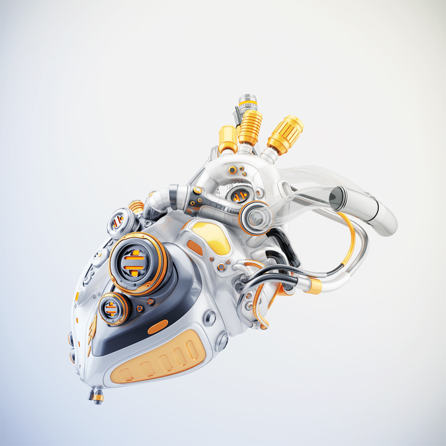 Stylish cyber heart with orange parts 3d rendering with alpha