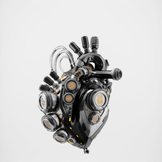 Glossy black heart with bright orange parts 3d rendering with alpha