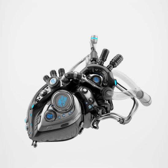 Black black heart 3d rendering with alpha