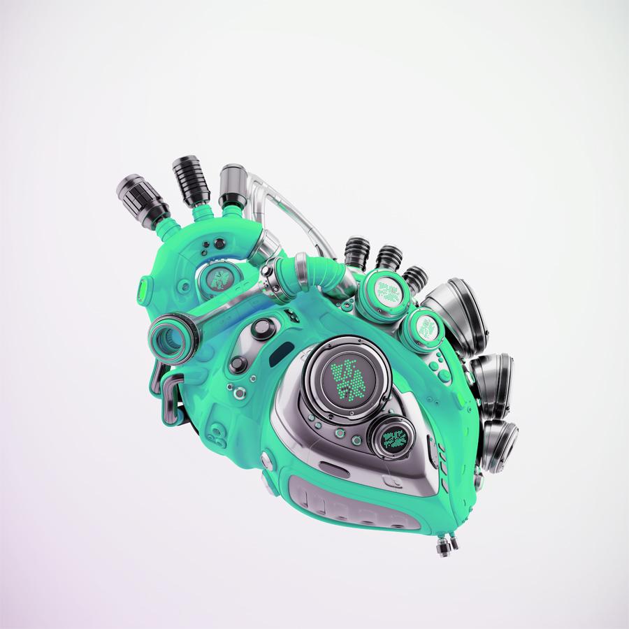 Turquoise robotic heart