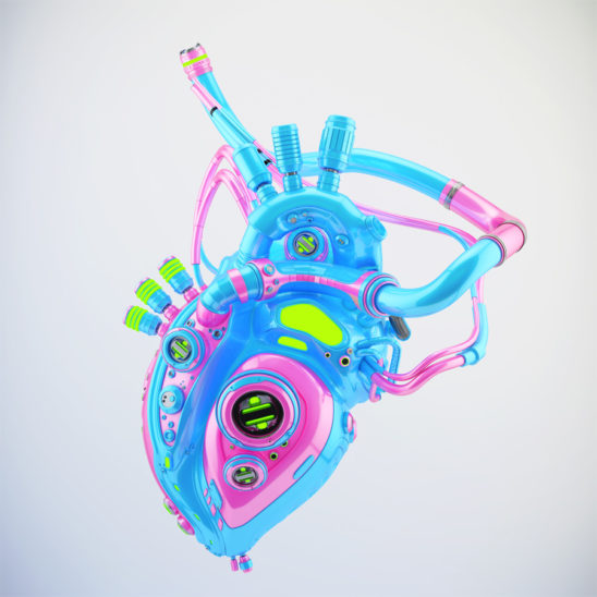 Crazy pink-blue sci-fi robotic heart 3d rendering with alpha