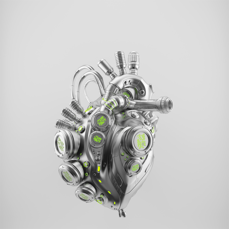 Silver robotic heart