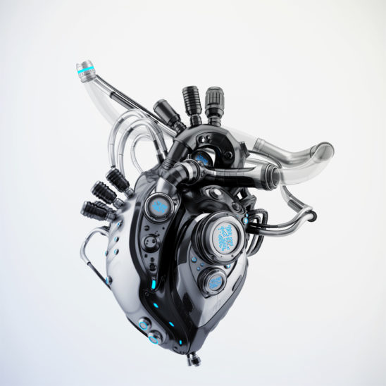 Dark sci-fi heart 3d rendering with alpha