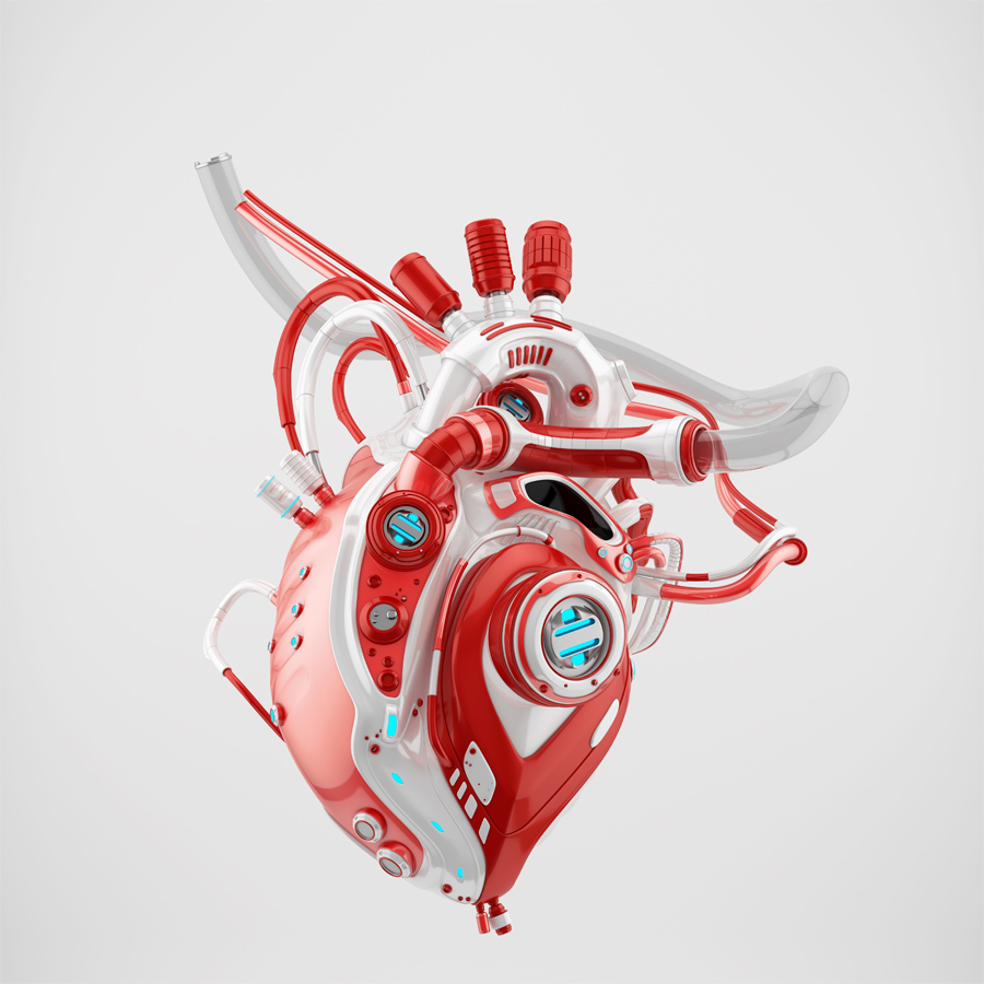 Red-white robotic heart