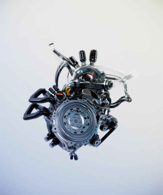 Mechanical heart, artificial robotic motor. 3d rendering with alpha