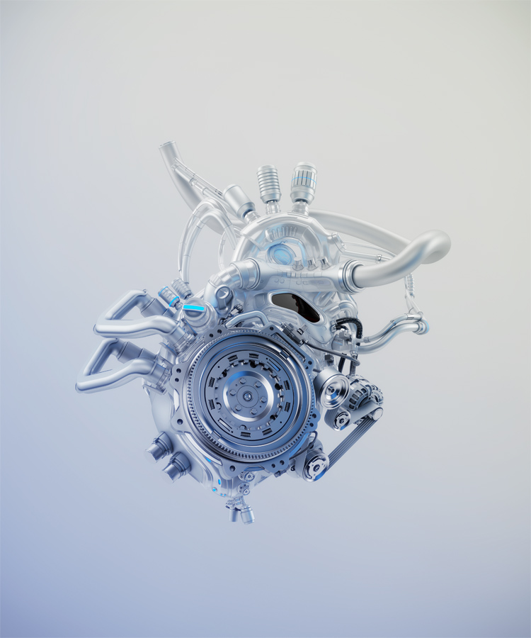 Silver mechanical heart 3d rendering with alpha
