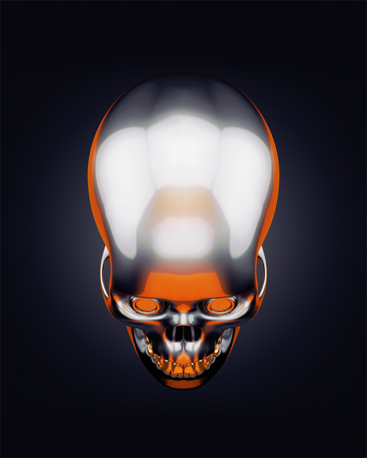 Stylish sci-fi skull 3d rendering with alpha