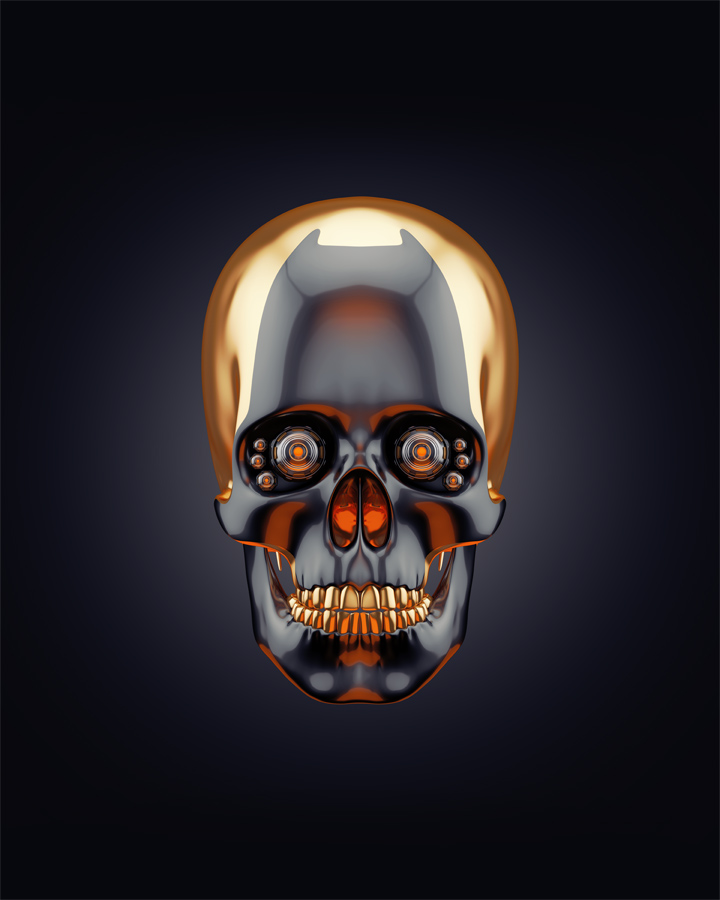Sci-fi golden skull 3d rendering with alpha