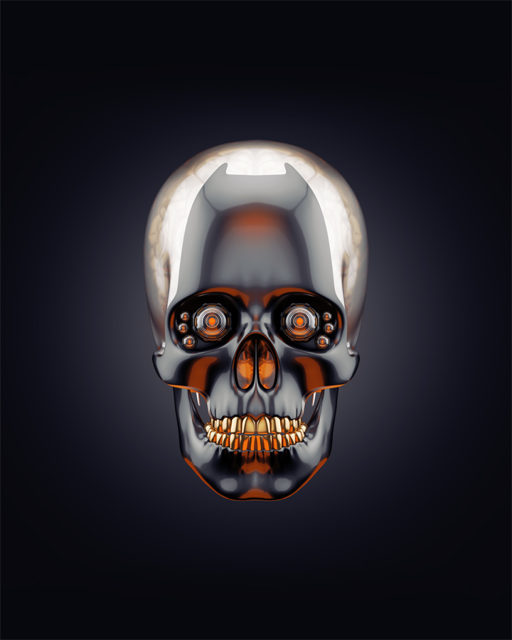 Skull with golden teeth and brain 3d rendering with alpha