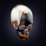 Robotic skull in side angle 3d rendering with alpha
