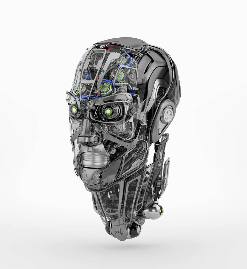 Steel mecha robotic man's head in side angle. 3d rendering with alpha