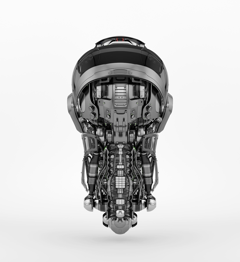 Steel mecha robotic man's head backwards. 3d rendering with alpha