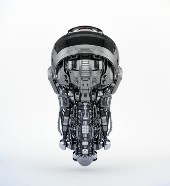 Steel mecha robotic man's head backwards. 3d rendering with alpha