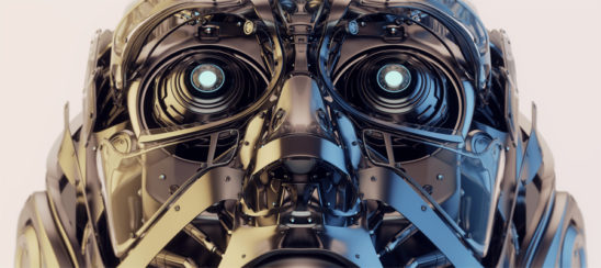 Steel robotic face mask, 3d rendering with alpha
