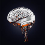 Steel artificial brain, 3d rendering with alpha