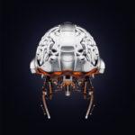 Steel artificial brain backwards, 3d rendering with alpha