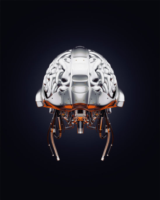 Steel artificial brain backwards, 3d rendering with alpha