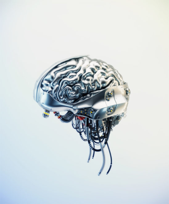 Silver brain on light background