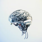 Silver brain on light background, 3d rendering with alpha