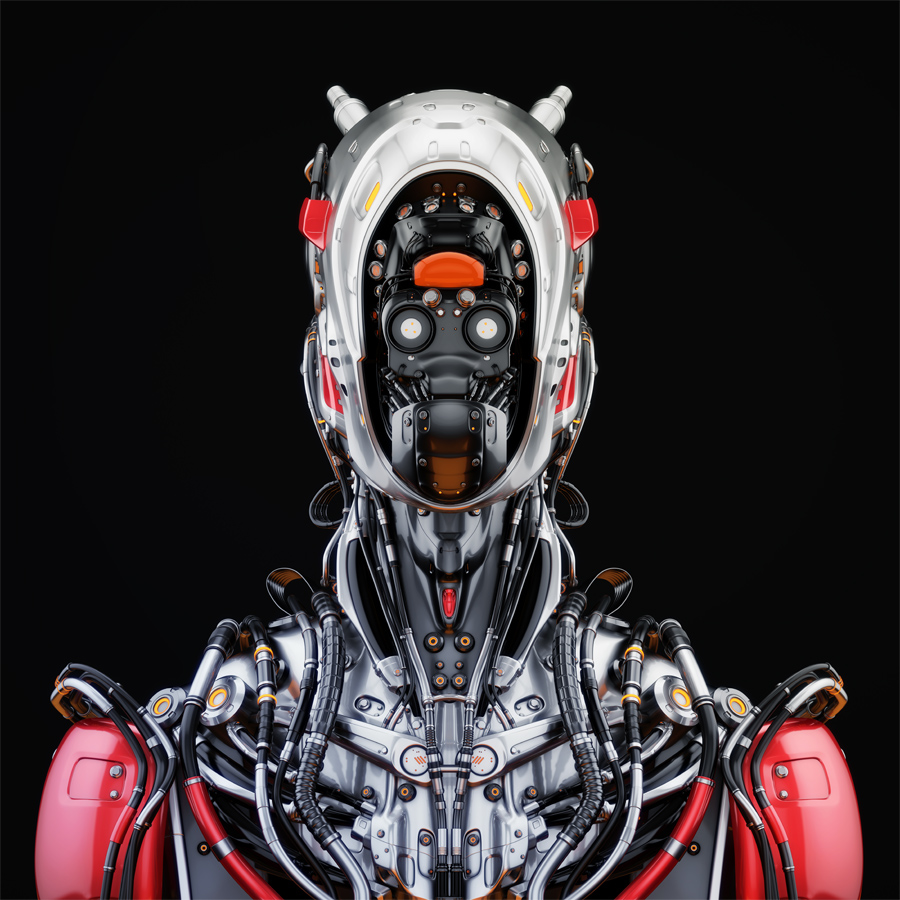 Stylish cyborg bust in front II