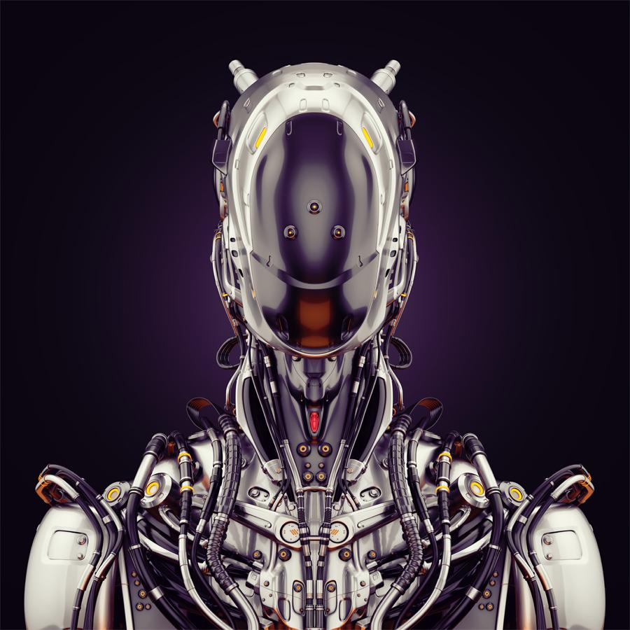 Silver steel cyborg bust