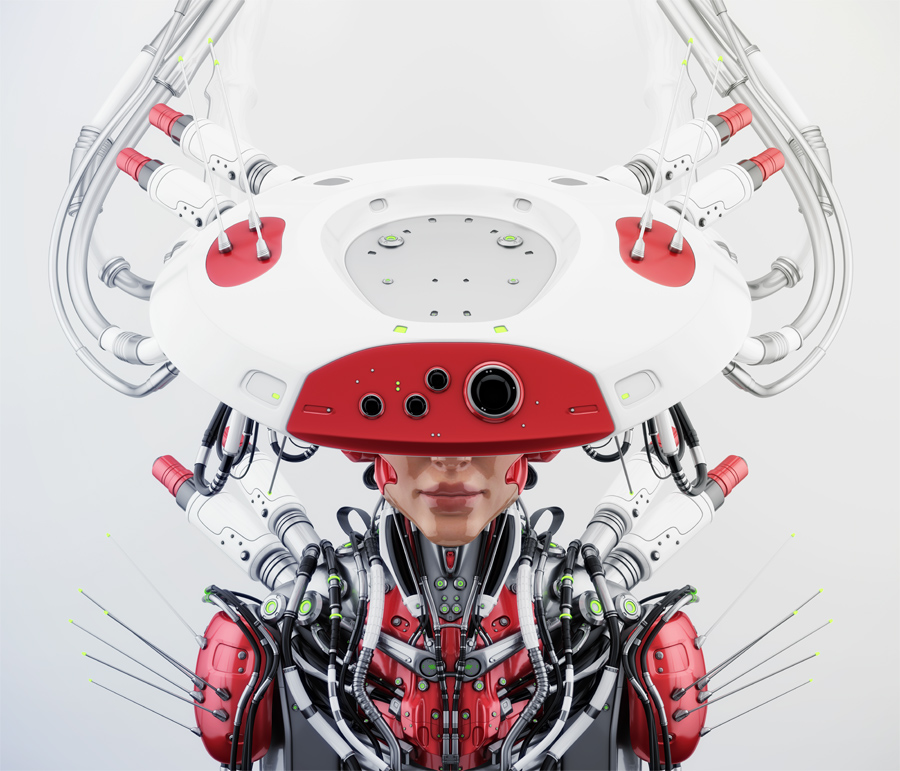 Smart red robotic woman in hat upper view