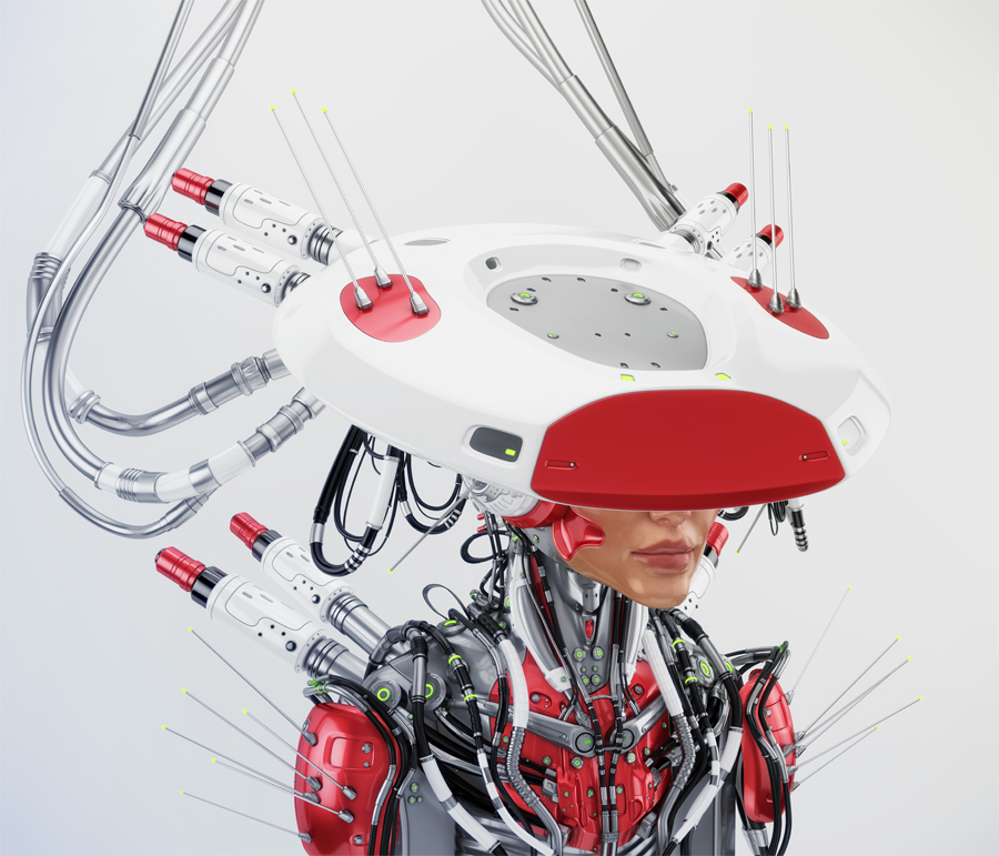 Smart red connected girl in hat side angle