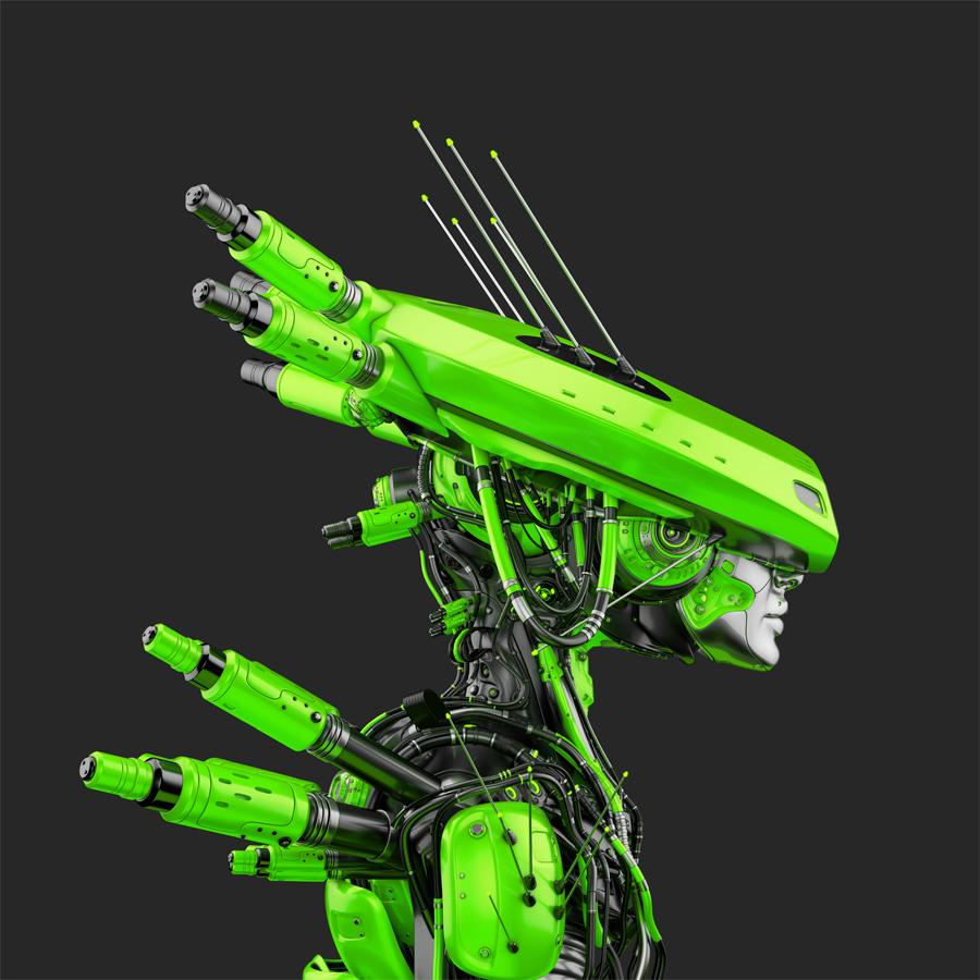 Smart acid green robot girl in hat