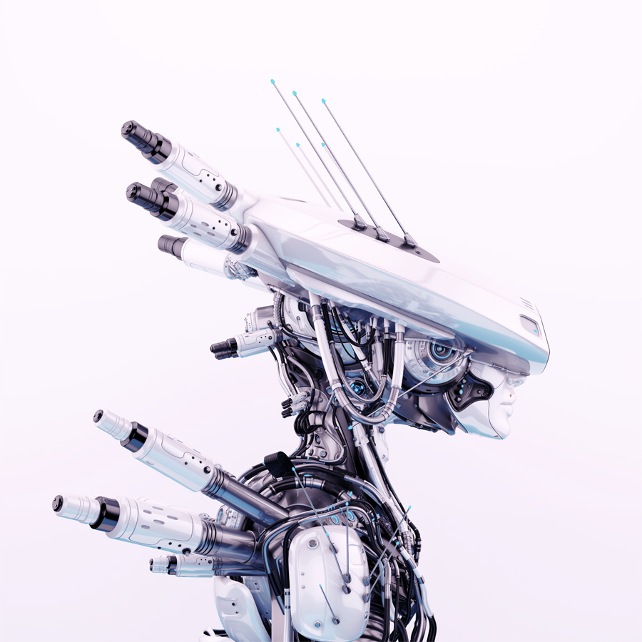 Smart white black cyborg in sci-fi flat hat