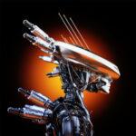 Steel cyborg in sci-fi flat hat, sunrise