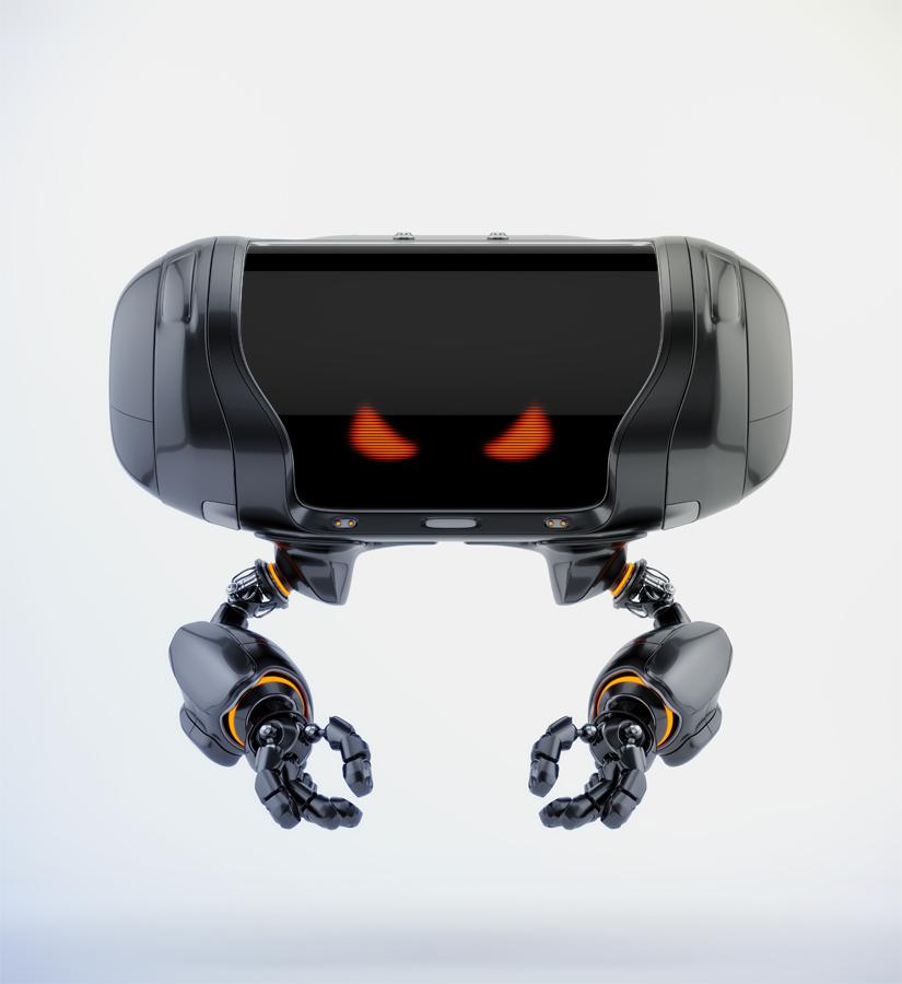 Angry aerial Cheburashka robot