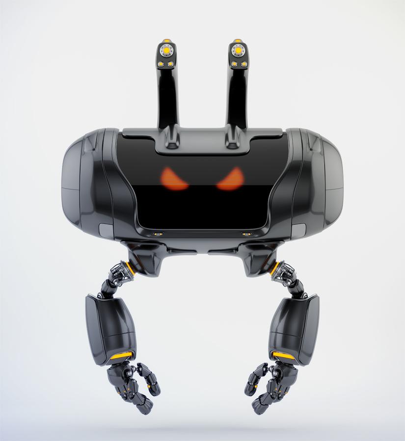 Angry aerial Cheburashka robot with funny ears