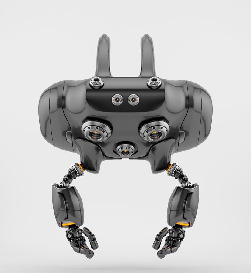 Aerial Cheburashka robot with funny ears backwards