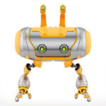 Aerial orange Cheburashka robot with funny ears