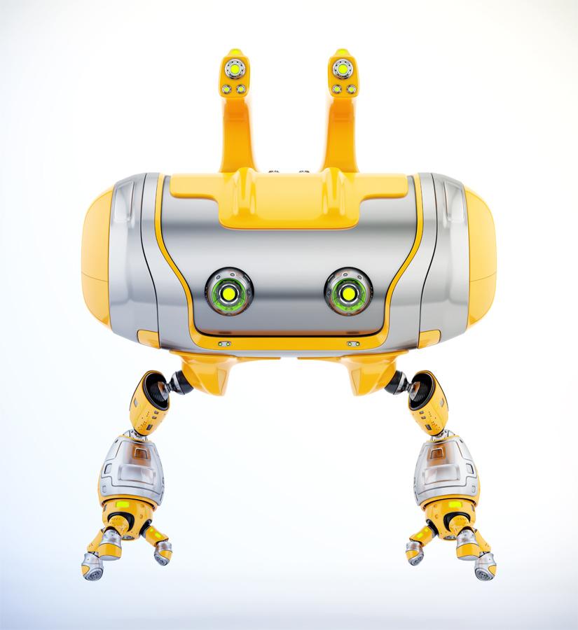 Aerial orange Cheburashka robot with funny ears